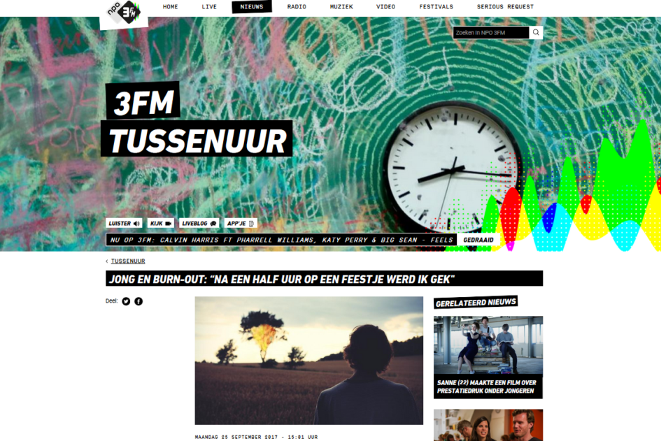 Jong en burn-out. 3FM interview, Sharon Uitendaal, ervaring, burn-out blog, YoungCoach
