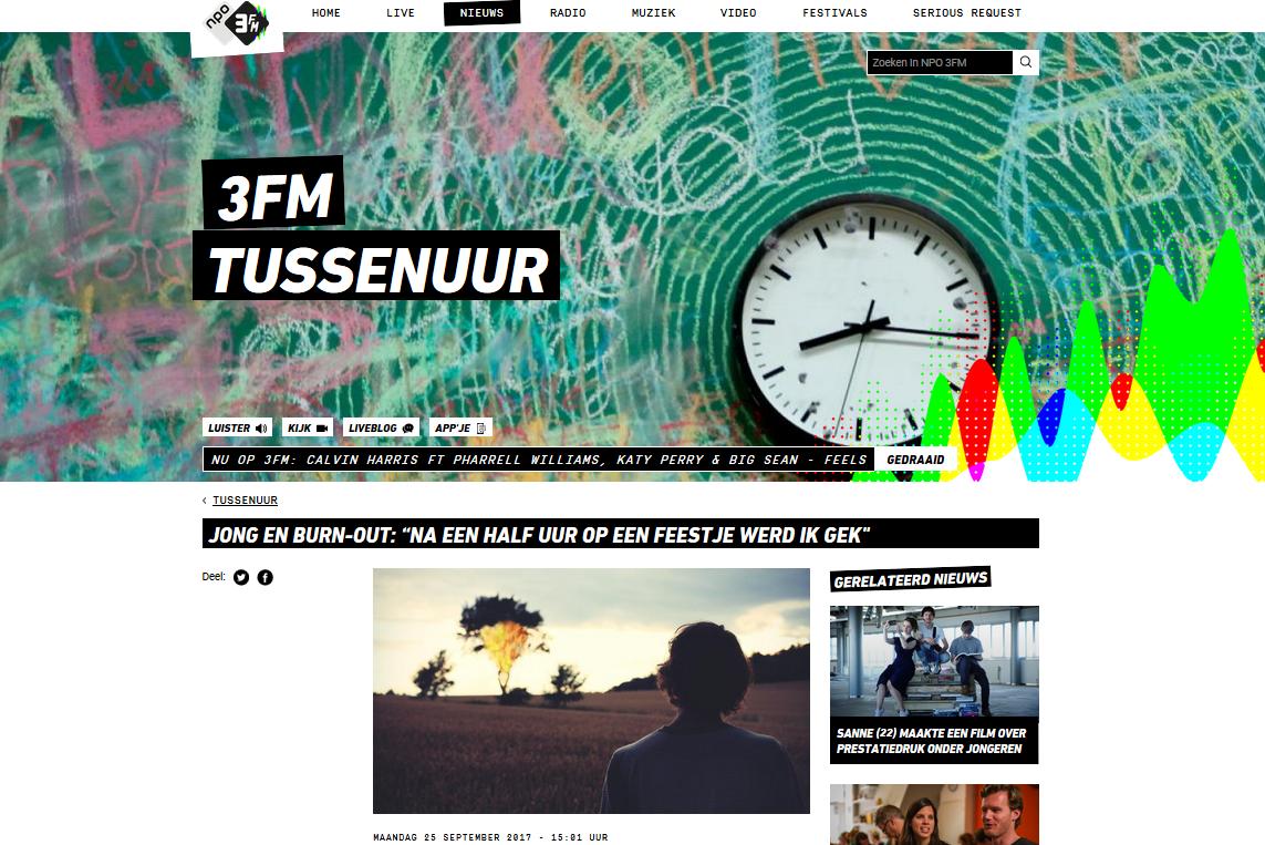 Jong en burn-out. 3FM interview, Sharon Uitendaal, ervaring, burn-out blog, YoungCoach